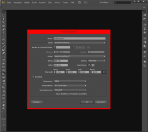 "Adobe Illustrator GUI mit dem ""Neues Dokument""-Dialog"